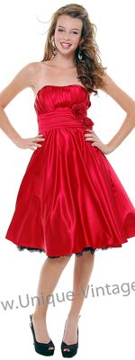 Red Strapless 50's Style Rose Empire Waist Swing Dress - XS to 3X