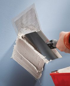 Hole patches fix wall holes and cracks fast. Available up to 8 in. square, these stiff metal patches eliminate the time-consuming process of squaring a hole, putting in wood backer boards, and buying, cutting and taping the drywall. They're a great fast fix for holes and big cracks in walls before painting.