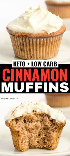 low carb yum Keto Low Carb Cinnamon Muffins with cream cheese frosting and only g net carbs per serving! These taste like real cinnamon muffins too and make the perfect keto breakfast or keto treat! You have to try these keto muffins Healthy Low Carb Recipes, Low Carb Dinner Recipes, Low Carb Desserts, Keto Recipes, Dessert Recipes, Jelly Recipes, Low Carb Food, Keto Desserts Cream Cheese, Appetizer Recipes