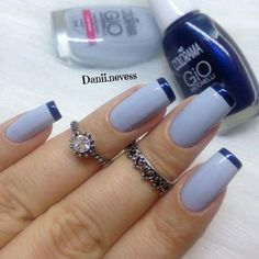 Make an original manicure for Valentine's Day - My Nails Stylish Nails, Trendy Nails, Fancy Nails, Gorgeous Nails, Blue Nails, Manicure And Pedicure, Nails Inspiration, Beauty Nails, Nail Care