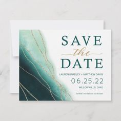 Shop Modern Emerald Green and Gold Watercolor Save The Date created by Design_Pro_Weddings. Green Wedding Invitations, Gold Invitations, Save The Date Invitations, Watercolor Invitations, Save The Date Cards, Invites, Gold Save The Dates, Modern Save The Dates, Wedding Save The Dates