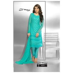Sky Blue Chiffon Designer Embroidered Straight Suit