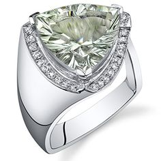 500 Carats Green Amethyst Ring Sterling Silver Concave Trillion Cut Size 7 -- Want to know more, click on the image.
