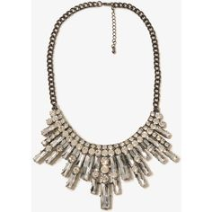 FOREVER 21 Rhinestoned Bib Necklace ($15) ❤ liked on Polyvore