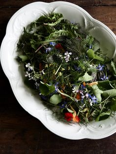 Freshly picked floral salad!  Recipe by Tamsin Carvan of Tamsin's Table, styling – Lucy Feagins, photo – Eve Wilson.