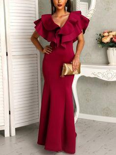 Falbala V-Neck Ruffle Sleeve Women's Maxi Dress Red Wedding Dresses, Formal Dresses, Fishtail Dress, Plain Dress, Trend Fashion, Womens Fashion Online, African Dress, Types Of Sleeves, Ruffles