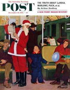 """""""Giving Santa His Seat"""" by Richard Sargent, December 10, 1955"""
