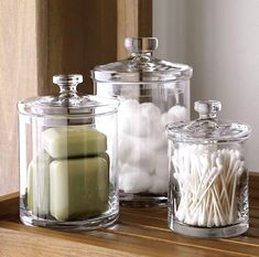 apartment decor Sale ends soon. Shop Set of 3 Glass Canisters. Simple bathroom storage with a retro feel. Handmade glass canisters with nesting lids update a classic apothecary look Bath Storage, Small Bathroom Storage, Bathroom Organisation, Bathroom Staging, Bathrooms Decor, Bedroom Storage, Decorating Bathrooms, Small Storage, Cheap Storage