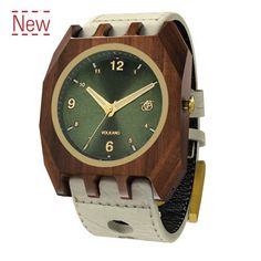 8f464277003 Mistura Volkano Unisex Watch Classic Green Dial Hollister Leather Band  Wooden Watch