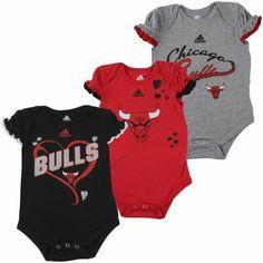 adidas Chicago Bulls Newborn Girls Ruffle Heart 3-Pack Creeper Set - Black/Red/Ash