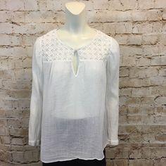 J Crew White Gauze Top Blouse Shirt 8 Cotton Embroidered  | eBay
