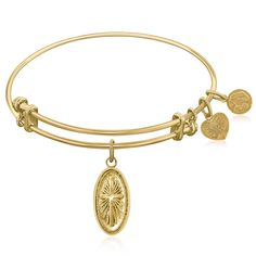 Expandable Bangle in Yellow Tone Brass with Cross Symbol