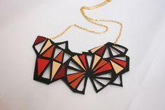 Geometric leather colorful necklace black color von GeometricLOVE, $30.00
