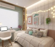 Teen Girl Bedrooms, decorating design number 4232454737 for a delightfully smart bedroom. Cute Bedroom Ideas, Girl Bedroom Designs, Small Room Bedroom, Home Decor Bedroom, Interior Livingroom, Dream Rooms, Dream Bedroom, Teen Girl Bedrooms, Cool Rooms