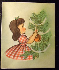 Vintage Greetings Card Dressing Tree (reminds me of 2 of my grandaughters, Brittany Joy and Charlee Louise)