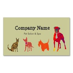 Cute Animals Dogs  Cats Pet Salon   Spa Double-Sided Standard Business Cards (Pack Of 100)