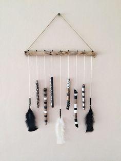 Driftwood Mobile Hanging/Black&White Decor/Boho Mobile/African Mobile/Hand Painted Driftwood Wall Hanging/Boho Wall Hanging/Boho Wall Art