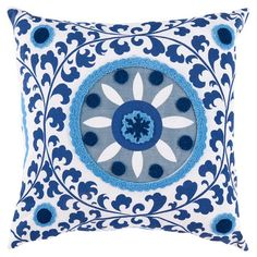 Bring a pop of style to your sofa or favorite reading nook with this eye-catching pillow, featuring a suzani-inspired medallion motif for exotic appeal.