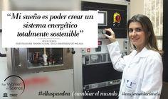 Rocío Ponce, becada L'Oréal-UNESCO For Women in Science. Investiga  células solares y dispositivos electrónicos  hechos de polímeros, que serán mucho más baratos que los actuales de silicio.#ellaspueden (cambiar el mundo)