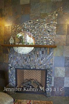 Surprising Tricks: Shiplap Fireplace With Builtins limestone fireplace tile.Fireplace With Tv Above And Windows limestone fireplace tile. Mosaic Fireplace, Fireplace Drawing, Fireplace Art, Fireplace Bookshelves, Fireplace Garden, Rustic Fireplaces, Fireplace Remodel, Fireplace Surrounds, Fireplace Design