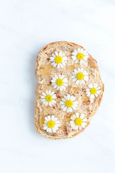 Almond Butter Toast with Cinnamon, Honey and Chamomile Flowers