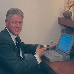 November 1998 - Bill Clinton uses his Toshiba laptop to send the first ever e-mail from a president.