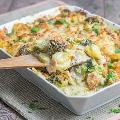 Soooo delicious: potato broccoli casserole with ham & cheese (In German with translator)