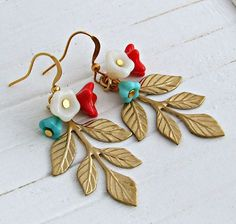 Brass Leaf Earrings  .. brass leaf earrings by beadishdelight