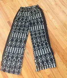 9246d2cbc7 Details about Freckles Women s Black White Print Wide Leg Palazzo Pant  Elastic Waist Sz L