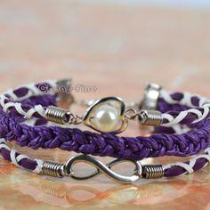Hand Woven Purple Imitation Pearls Bracelet Infinity Bracelet Love DIY Bracelet | eBay