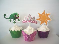 Items similar to Tangled Printable Cupcake Wrappers and Toppers to complete your Rapunzel Birthday Party Decorations - Digital File - Print at Home on Etsy Rapunzel Birthday Party, Tangled Party, Birthday Parties, Tinkerbell Party, Princess Birthday, 5th Birthday, Rapunzel Disney, Walt Disney, Rapunzel Cupcakes