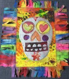 mix with gelli plate and use foam cutouts?art project to try with students for dia de los muertos