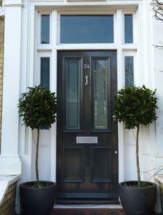 Black Victorian door by the London Door Company Front Door Porch, Exterior Front Doors, House Front Door, Victorian Hall, Victorian Front Doors, Black Front Doors, Wooden Front Doors, Black Door, Front Door Design
