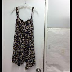 Joie Navy Floral Print Sleeveless Sleeveless Dress