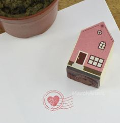 1pc Wooden Rubber Stamp Set  Love House Stamps  by MarchAnnie, $3.80