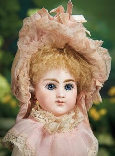 """French Bisque Bebe by Joanny in Petite Size ----12""""nice antique costume. Condition: generally excellent. Marks: J. 3. Comments: French, Joanny, circa 1888. Value Points: rare model is quite delightful in this petite size with entrancing deep eyes and rich decoration."""