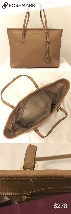MICHAEL KORS Jet Set Travel Saffiano Leather Tote Color: Tan Size: Large Condition: Great; Gently used; 2 small thread frays on inside, top lining; Small black stain dot inside front strap Authenticity: Real, 100% MICHAEL KORS; Saffiano leather  *Listed on Mercari for less + Free shipping! Michael Kors Bags Totes