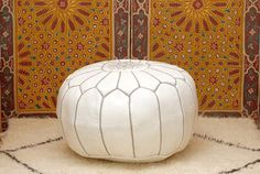 White Moroccan Pouf Leather Handmade by BerberPoufs on Etsy