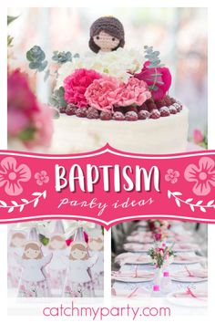 PuroLove's Baptism / Angel / Heaven - An angel called Estefania at Catch My Party Christening Party, Baptism Party, Boy Baptism, Baptism Ideas, Pink Party Foods, Girl Birthday, Birthday Parties, Floral Theme, Pink Parties
