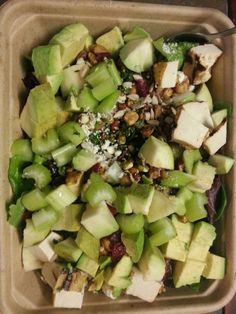 Salad:- Lettuce, spinach, walnuts, roasted unsalted soy nuts, tofu, guava, avocado, pitted olives, celery, toubuli, sunflower seeds, feta cheese, a few cranberries...no dressing