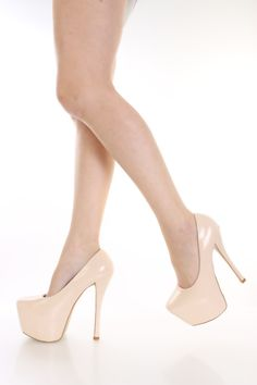 Beige Patent Platform Pump Heels