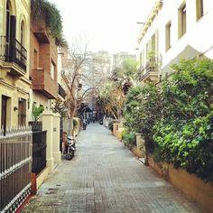 An old pedestrian street of Barcelona ( by http://instagram.com/lex_gil )