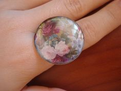 Handmade ring with liquid glass- resin, diy vintage roses