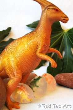 Dinosaur soaps - a great way to get kids excited about washing their hands AND for you to do some very basic soap making (without any nasty chemicals)