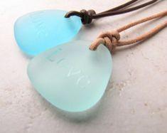Mens Collana Mans collana collana di vetro di mare Seaglass