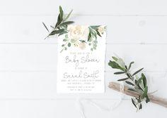 White Floral Baby Shower Invitation, Greenery Shower, Greenery Foliage, Floral Baby Shower, Printable Invitation, Custom Invitation, P10