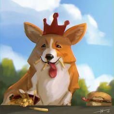 Cutie by Kirill Kozyrev (sexydrinkart) #corgi #aww #cute #cutie #adorable #dog #doge #wow #muchwow #suchamaze #king #burger #fries #fastfood #food #foodporn #illustration #art #artwork #animal #conceptart #visdev #gameart #digitalpainting #cg #digitalart #photoshop #sai