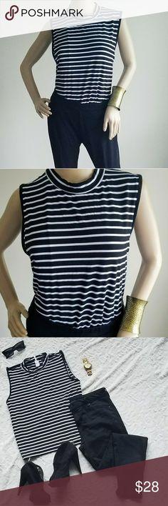 ELOQUII striped sleeveless top ELOQUII Black and white stripe Sleeveless Size 20 Rayon ELOQUII Tops