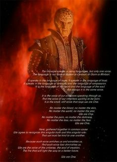 Babylon 5: G'Kar. We are one. So using this for the wedding.
