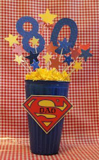 centerpieces for  superdad  80th birthday party